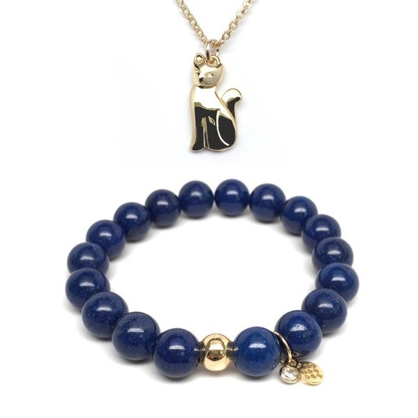 Blue Jade Bracelet & Cat Gold Charm Necklace Set
