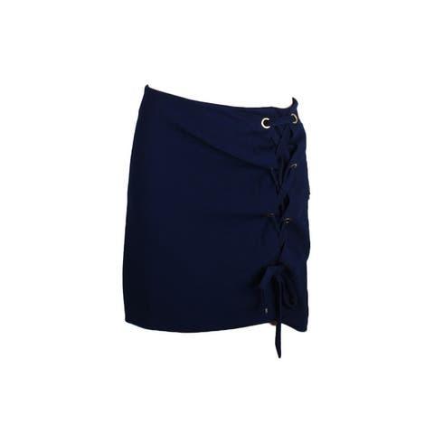 Kensie Darkest Navy Lace-Up Hardware-Detail Skirt XL