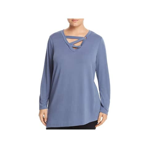 Love Scarlett Womens Plus Knit Top Criss-Cross Front Long Sleeves