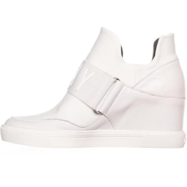 4e85f1bbe38 ... White DKNY Cosmos Slip On High Top Wedge Sneakers