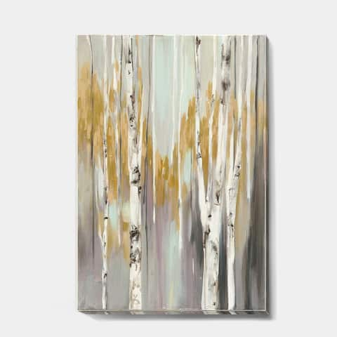 Porch & Den Silver and Yellow Birch Forest II' Cottage Gallery-wrapped Canvas - Grey