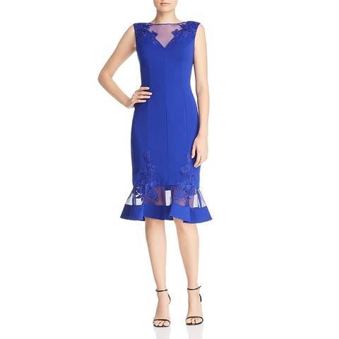 Aidan Mattox Womens Scuba Dress Lace Inset Mesh