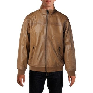 Tommy Hilfiger Mens Lambskin Blagden Leather Coat