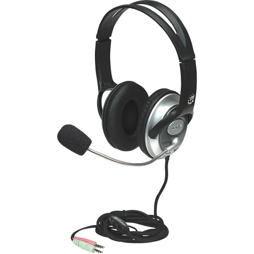 Manhattan Products 175555 Manhattan Classic Stereo Headset with Flexible Microphone Boom - Adjustable in-line volume control