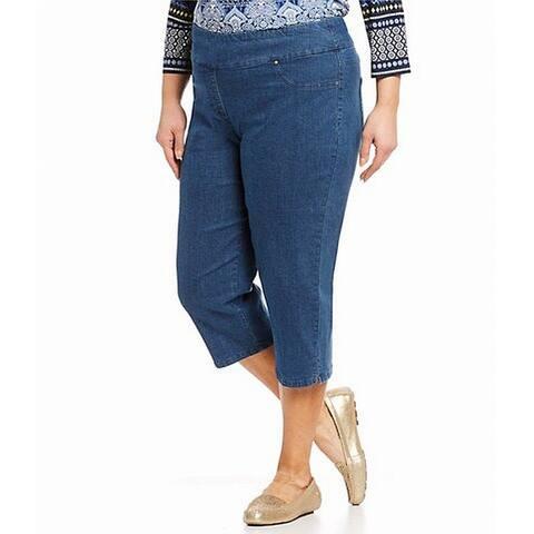 Ruby Rd. Womens Jeans Indigo Blue Size 8 Stretch Pull-On Capri Slimming