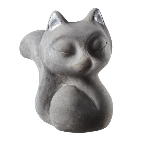 """Pack of 4 Gray Fox Figurines with Silver Ears 5.25"""" - N/A"""