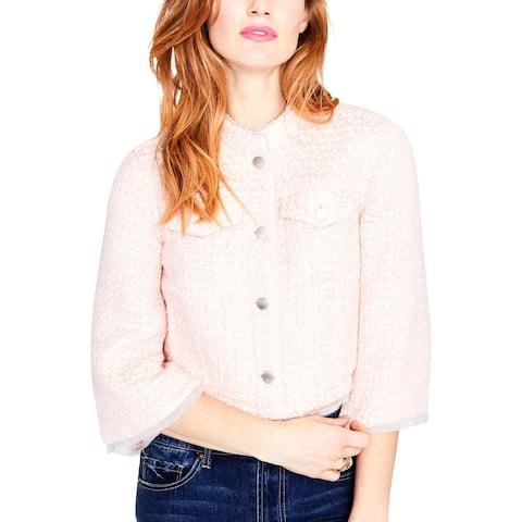 Rachel Rachel Roy Womens Tweed Jacket Cropped Bell Sleeves