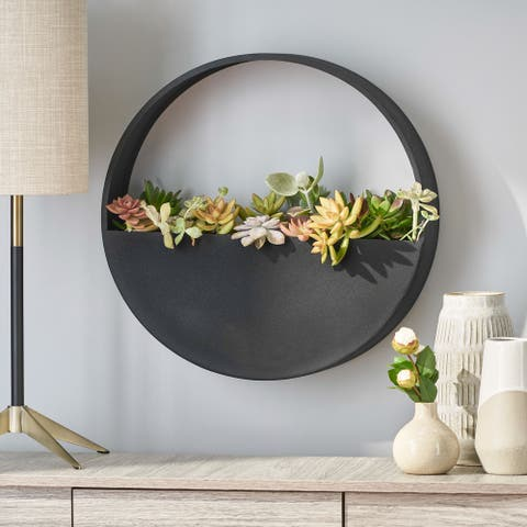 Ware Indoor Iron Handcrafted Round Wall Planter by Christopher Knight Home