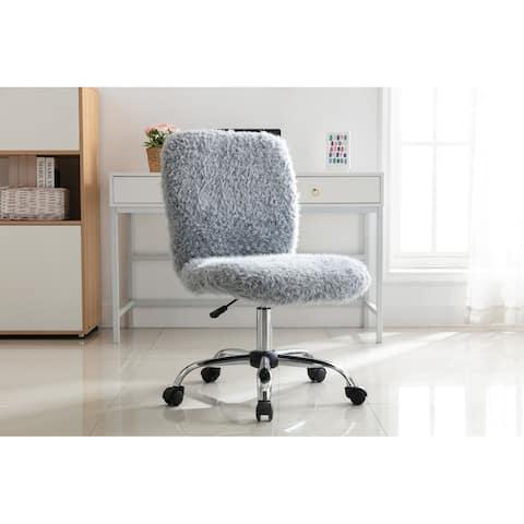 Porthos Home Alva Swivel Office Chair, Shaggy Fabric Upholstery