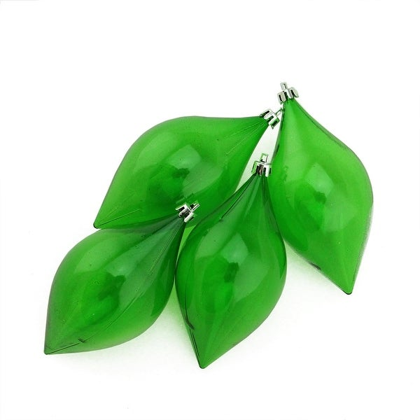 "4ct Xmas Green Transparent Teardrop Shatterproof Christmas Finial Ornaments 5.25"" (130mm)"