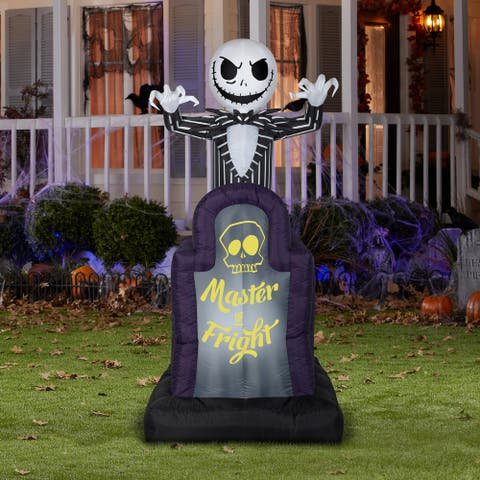 Gemmy Animated Airblown Pop Up Jack Skellington in Tombstone Disney, 6 ft Tall, grey