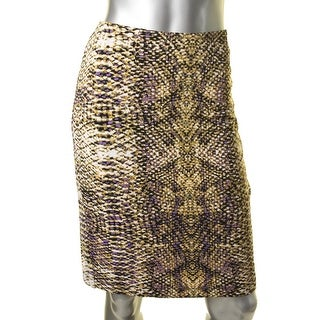 Kasper Womens Lined Reptile Print Pencil Skirt