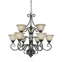 Jeremiah Lighting 24929 Torrey Two Tier 9 Light Chandelier - 35.5 Inches Wide - burnished armor