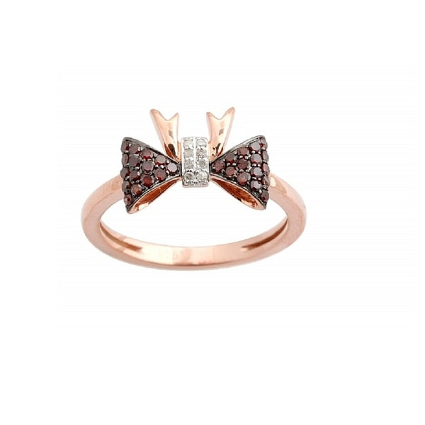 Brand New 0.25 Carat Round Cognac & White Diamond Bow Tie Shaped Designer Ring