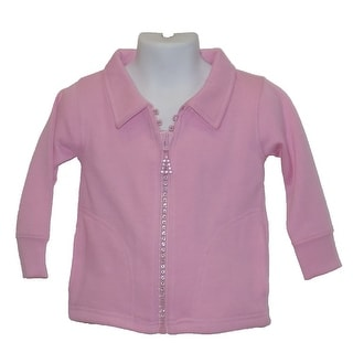 Little Girls Crystal Zipper Bubble Gum Cardigan With Collar And Pockets 5-10 (Option: 7)