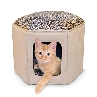 """K&H Pet Products Thermo-Kitty Sleephouse Tan / Leopard 17"""" x 16"""" x 13"""""""