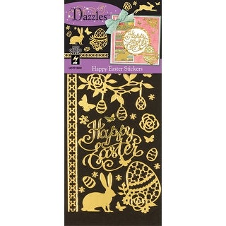 Dazzles Stickers-Happy Easter, Mirror Gold & Gold Foil
