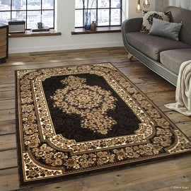 """Allstar Black Woven High Quality High Density Double Shot Drop-Stitch Carving (5' 2"""" x 7' 2"""")"""