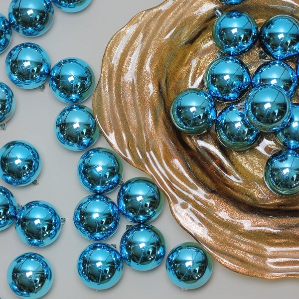 """60ct Shiny Turquoise Blue Shatterproof Christmas Ball Ornaments 2.5"""" (60mm)"""