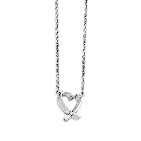 Chisel Stainless Steel Polished Heart with CZ Necklace (1 mm) - 19 in