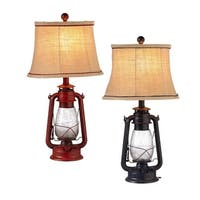 """Set of 2 Cherry Red and Black Assorted Vintage Lantern Accent Lamps 24"""""""