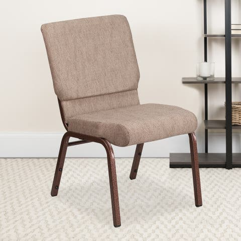 """18.5""""W Stacking Church Chair in Fabric - Copper Vein Frame"""