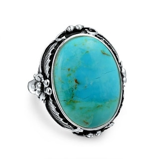 Bling Jewelry Oval Natural Compressed Turquoise 925 Silver Flower Ring - Blue