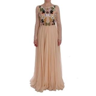 Dolce & Gabbana Dolce & Gabbana Pink Silk Floral Crystal Maxi Gown Dress - it38-s