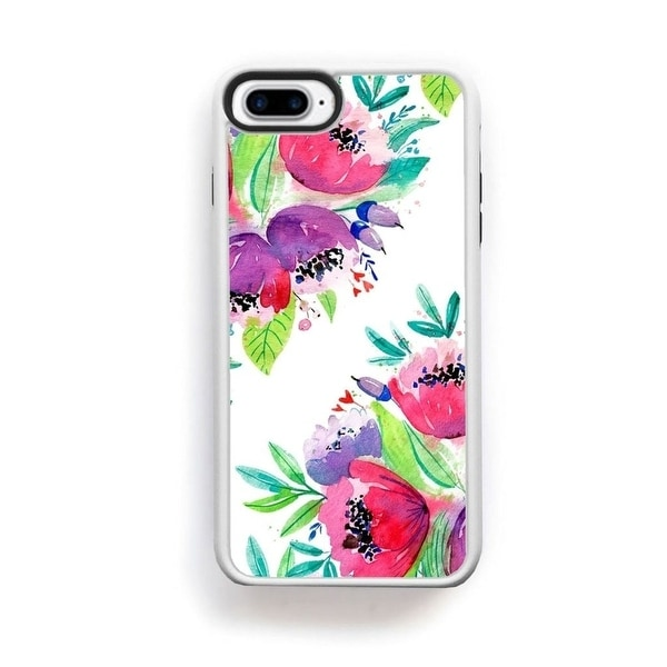 Shop Painted Pink And Purple Flowers Top Bottom On White For Iphone