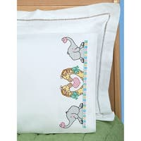 Children's Stamped Pillowcase W/White Perle Edge 1/Pkg-Noah's Ark - White