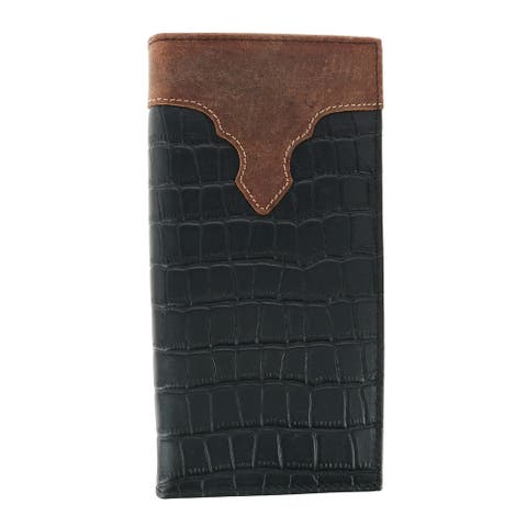 American Bison Men's Vegan Leather Tooled Gator Print Rodeo Checkbook Wallet - one size