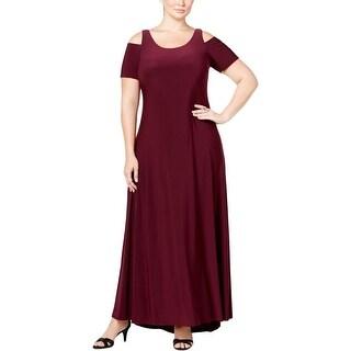 Betsy & Adam Womens Plus Evening Dress Matte Jersey Open Shoulder