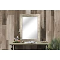 Hanging Framed Wall Mounted Mirror, Distressed Wood Finish Gray White, Made in USA - 34X44