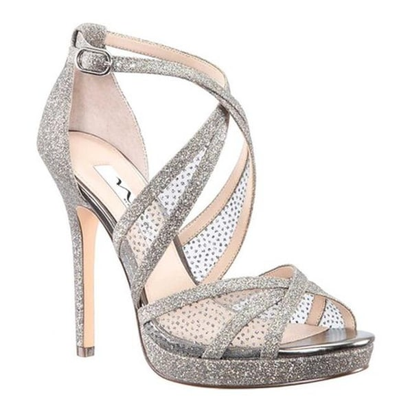 5d05ebf7a813 Nina Women  x27 s Fenna Platform Stiletto Sandal Stone Glitter Fabric Snow  Dot