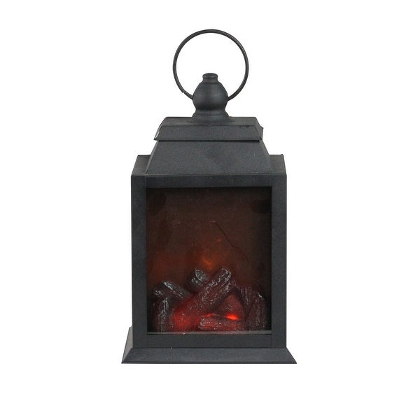 "10"" LED Lighted Black Lantern with Faux Fire Christmas Decoration - N/A"
