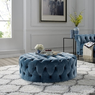 Link to Corvus Chesterfield Round Tufted Velvet Ottoman with Casters Similar Items in Ottomans & Storage Ottomans