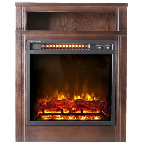 """Lifesmart 28"""" Infrared Heater Fireplace with Shelf and Remote Control"""