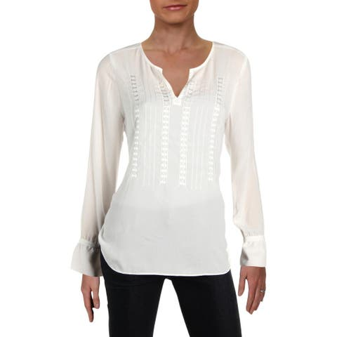 NYDJ Womens Blouse Embroidered Cuff Sleeves