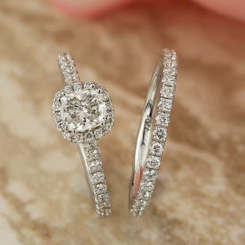 Auriya 1 3/4ctw Cushion Cut Halo Diamond Engagement Ring Set 14K Gold Certified