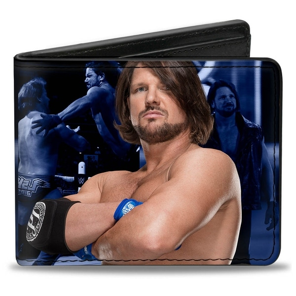 Aj Styles Pose1 + P1 Hands Pose Ring Action Blues Bi Fold Wallet - One Size Fits most