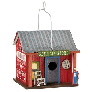 "General Store Birdhouse - Wood And Metal - 7"" X 8"" X 8"""