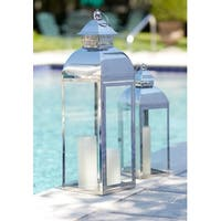 """Set of 2 Stainless Steel and Glass Pillar Candle Holder Lanterns 28"""""""