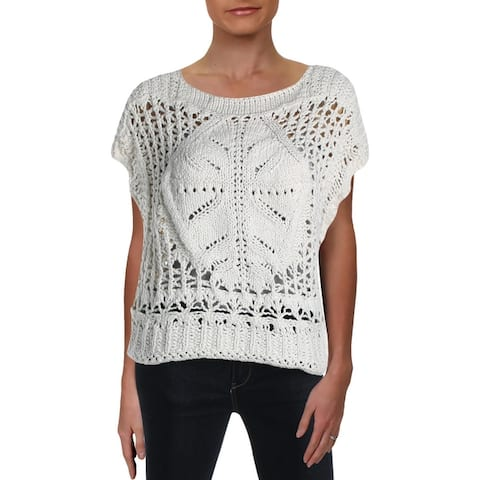 Free People Womens Diamond In The Rough Pullover Sweater Open Stitch