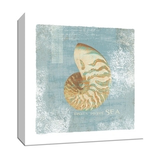 "PTM Images 9-152777  PTM Canvas Collection 12"" x 12"" - ""Listen to the Sea"" Giclee Shells Textual Art Print on Canvas"