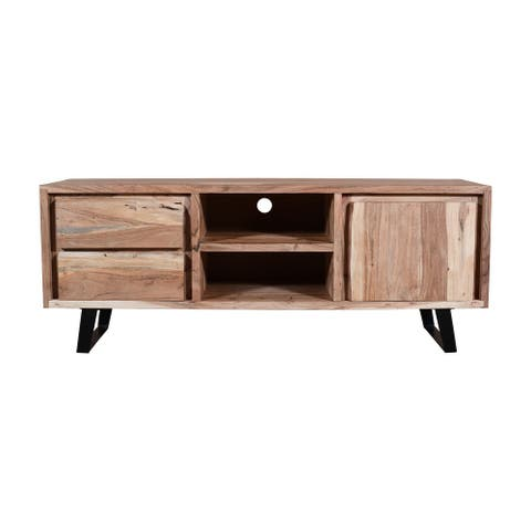 57 Inches 2 Drawer Wooden TV media Cabinet with 1 Door and Live Edge Design, Brown