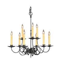 """Framburg 1319 Black Forest 9 Light 26"""" Wide Taper Candle Chandelier - Charcoal"""