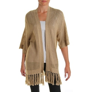 Ralph Lauren Womens Cardigan Sweater Cotton Fringe