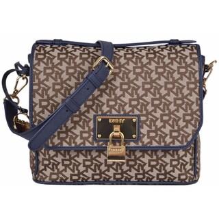 DKNY Donna Karan Chino Ink Logo Heritage Lock Crossbody Top Handle Purse Bag