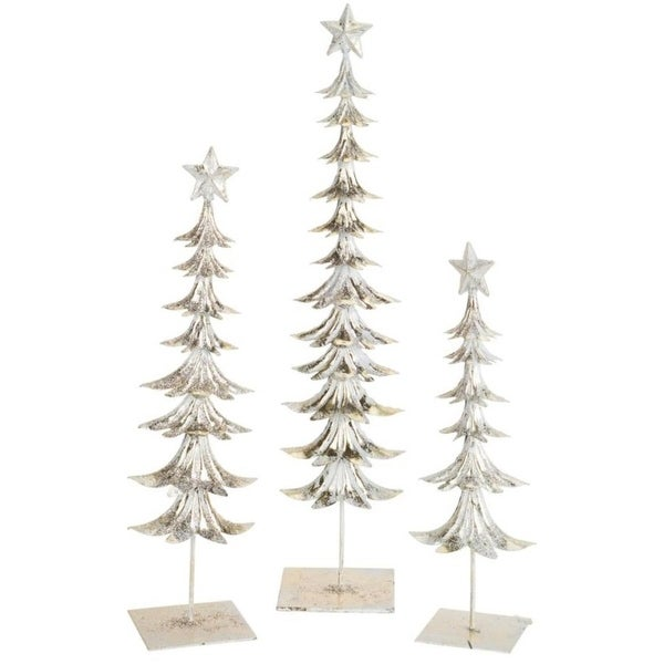 Pack of 2 Decorative Icy Frost White Set of 3 Metal Tree with Star