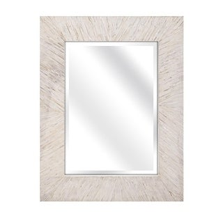 "34"" Mother of Pearl Natural White Wood Framed Beveled Rectangular Wall Mirror"